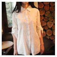 日系森女系纯棉打底衫长袖白色衬衫 衬衣女2014秋装新款 衬衫