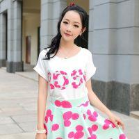 模特实拍新款韩版女装圆领卷边短袖印花百搭T恤上衣打底衫K133