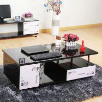 烤漆钢化玻璃创意茶几黑白色 现代简约地毯茶几电视柜小户型