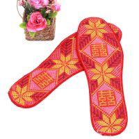 批发十字绣鞋垫 绣花鞋垫批发 精品鞋垫 大红色十字绣鞋垫批发