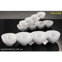 热销高档 酒店陶瓷 餐具批发 饭店餐厅 纯白色盘碗 连体四格圆碟