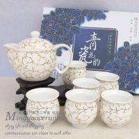 供应景德镇陶瓷茶具7件套《金枝玉叶》泡茶工具茶滤茶壶茶杯4192#