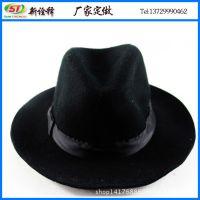 帽子厂家定制 欧美复古黑色英伦礼帽 宽边羊毛呢料定型爵士帽
