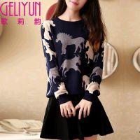 GLY2014秋季女装新款韩版套头毛衣宽松圆领长袖打底衫针织衫 女