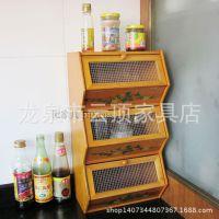 木制台面收纳柜 三层通风置物柜杂物箱 厨房置物架 欧式家具