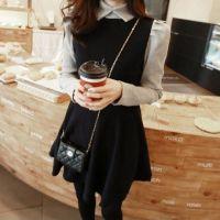 秋冬新款连衣裙韩版修身显瘦高领针织拼接毛呢假两件连衣裙