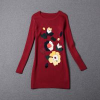 欧洲站高端秋冬季新款女装时尚贴布花朵修身长袖圆领连衣裙1269