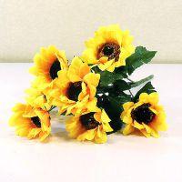 价格实惠 7头小向日葵 假花仿真植物 装饰塑料花 仿真绢花批发