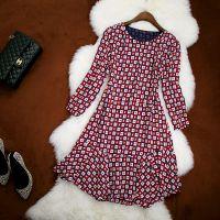 14秋冬新款欧美连衣裙长上衣长袖格子鱼尾小摆裙荷叶边打底裙6746