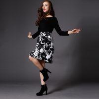 2014秋冬新款女套装 明星气质花纹连衣裙欧美个性连衣裙女裙