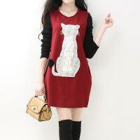 加绒加厚秋季新款女装韩版 圆领猫咪图案中长款打底衫不倒绒