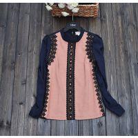 2015春季韩版新款蕾丝立领长袖涤棉混纺基本款百搭打底衫衬衫