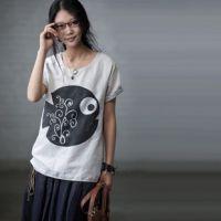 江南布衣例外风格 日单森林系文艺范亚麻印花短袖衬衫T恤米兰宣言