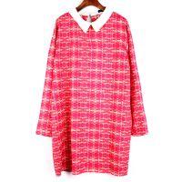 一件代发2015春装欧美时尚格纹翻领连衣裙娃娃领打底衫