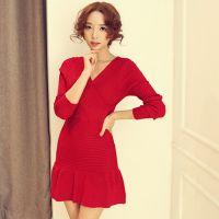 2014秋装新款小V领羊绒毛衣修身低领打底衫长袖女装毛衣女针织衫