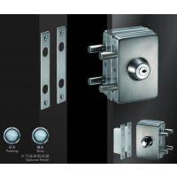 供应酒店,物业,学校房间玻璃门锁 不锈钢方形单边双开中央锁方形 超b级锁芯JU-W511 玻璃门锁