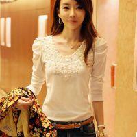 2014秋装新款韩版 女装花边烫钻泡泡袖打底衫长袖t恤