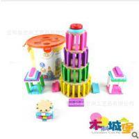 幼得乐 巧手建筑师 桶装木制积木 精品榉木拼搭 益智 木制玩具