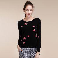 女式现货供应秋冬新款正品100%纯羊绒衫套头星星圆领针织打底衫