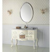 诗兰朵欧式特价落地象牙白实木浴室柜 新古典大理石卫浴家具