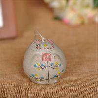 陶瓷工艺品 陶瓷风铃 单节小号风铃 小财猫陶瓷风铃 招财招福挂件