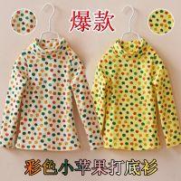 童装 秋款童上衣 韩版彩色小苹果女童上衣 时尚高领女童打底衫