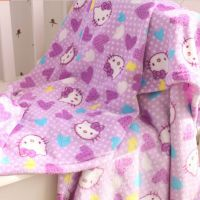 可爱 紫色kitty珊瑚绒毯子卡通空调毯小盖毯薄毯车载小毯子