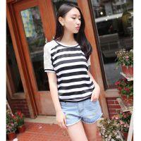 2014新款韩版女装T恤 螺纹短款长袖打底衫T恤 免费加盟