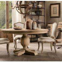 美式乡村餐桌厨房餐厅餐桌椅组合复古做旧松木餐桌