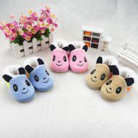 新款童鞋 宝宝学步鞋 防滑牛筋底棉鞋 卡通熊猫拼色婴儿鞋 3个码