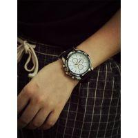 速卖通外贸热销 QF极速三眼金属边复古运动圆形大表盘潮流手表