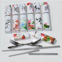 家居日用批发 方便卫生不锈钢便携折叠筷子 勺子 叉子 餐具三件套