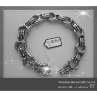 世达 铸造加工316L不锈钢蛇皮纹路手链 十字架弹簧扣 B120