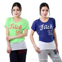 2014新款AF女装韩版短袖T恤女夏季字母背心圆领二件套蝙蝠衫批发