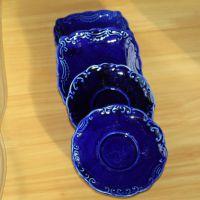 厂家直销 厨房餐厅酒店咖啡馆陶瓷用品 釉下彩深蓝色碟子餐具