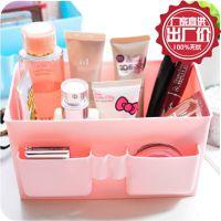 清新粉嫩纯色大容量塑料韩国桌面收纳盒 化妆品整理盒 防水化妆盒