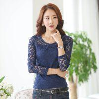 2014 秋装上衣 新款韩版蕾丝拼接打底衫 女长袖T恤