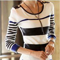 秋装新款韩国代购版修身圆领针织衫显瘦长袖女T恤 打底衫女