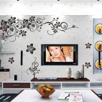 ZY027S外贸速卖通爆款黑色蝴蝶对角花藤欧美黑色电视背景墙贴纸