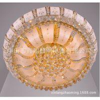 黄水晶圆形吸顶灯客厅卧室餐厅水晶灯具批发80CM