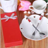 批发陶瓷手柄叉勺  中国风潮州陶瓷  婚庆用品陶瓷餐具厂家混批