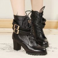 2014秋冬新款潮欧美真皮女鞋英伦马丁靴圆头粗跟短靴高跟鞋女靴子