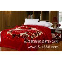 厂家直销二等品2.5KG毛毯单双层加厚 拉舍尔毛毯大红婚庆外贸出口