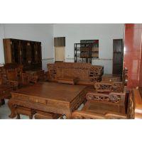 鸡翅木宝座十三件套 客厅实木沙发