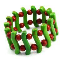 国产绿松石S形圆珠镂空花链手链