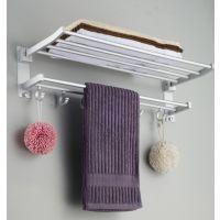 太空铝浴室折叠毛巾架浴巾架 五金挂件 带活动衣钩特价