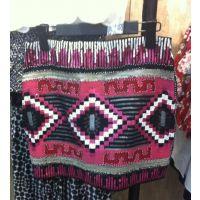 今夏***流行的民族风系列重工订亮片包臀短裙SML