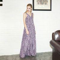 YIGELILA定制气质款异域风情豹纹长裙系带紫色豹纹连衣裙6813