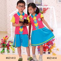 14款儿童园服夏季校服 全棉幼儿园校服批发定制菱形格子款