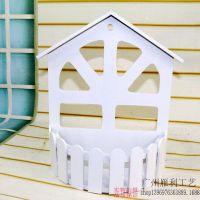 田园实木质白色假窗户壁挂饰摄影道具窗户 壁挂花篮 栅栏花盆